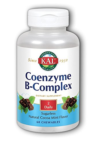 Vitamins Kal Chewable (KAL Coenzyme B-Complex Tablets, Cocoa Mint, 60 Count)