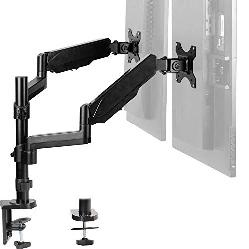 VIVO Dual Arm Computer Monitor Desk Mount with Pneumatic Height Adjustment, Full Articulation | VESA Stand with C-clamp and Grommet, Holds 2 Screens up to 32 inches (STAND-V002K)