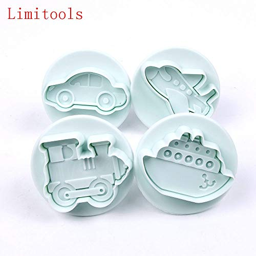 STORE-HOMER - 4PCS/LOT Missile vehicle,Tank, Armored car Sample Plastic Cookie Cutter, Fondant Cake Tools, Cake Decorating DIY Molds