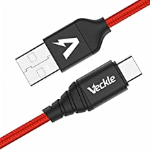 USB Type C Cable, Veckle USB C Cable 6.6ft Strongest Braided Nylon Stepped Type C Charging Cable Fit Any Cases for Samsung Galaxy Note 8 S8 Plus, Nexus 6P 5X, Oneplus 5, LG G5, Pixel, Red