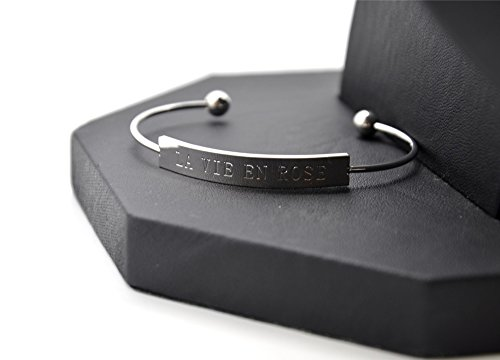 BC1947F - Bracelet Jonc Ouvert Acier Argenté avec Rectangle Message La Vie En Rose - Mode Fantaisie