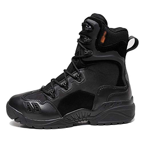 YYIN Men's Hiking Shoes Outdoor Desert Tactical Boots High Military Shoes Breathable Sneakers Anti-Slip Work Hiking Boot (Color : Black, Size : 41)