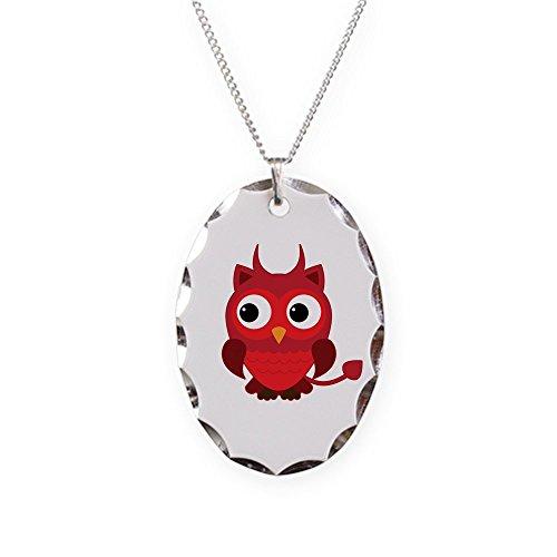 Necklace Oval Charm Little Spooky Owl Devil (Baphomet Horns Costume)