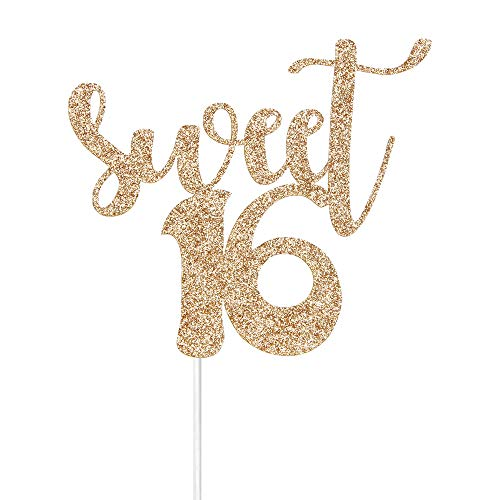 - Gold Glitter Sweet 16 Cake Toppers - Happy 16th Birthday Party Decoration Supplies - or 16th Wedding Anniversary Party Decoration