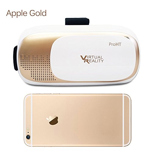 ProHT 3D Virtual Reality Headset,3D VR Glasses for Video Movie Game, Fits for iPhone7/6s//6 Plus Samsung Galaxy s6 Edge+ and Other 3.5″-6.0″ iOS Android Smart Phones (Apple Gold 88204AA)