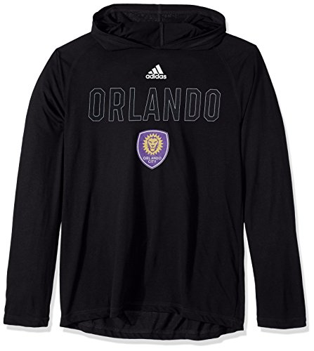 (adidas MLS Orlando City FC Base Ultimate Long Sleeve Hooded Tee, Large,)