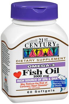 21st Century Fish Oil 1000 Mg Softgels, 60 Count (Pack of 2)