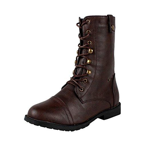 West Blvd Damara-2 Combat Boots, Brown Pu, 7.5 (Boots For Women Online)