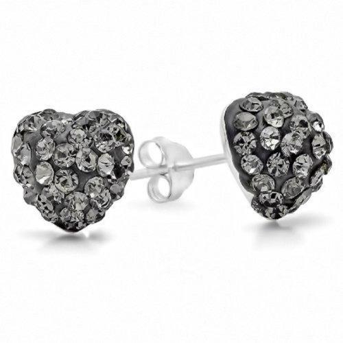 .925 Sterling Silver 8mm Gray Crystal Heart Shape Stud Earrings - Sterling Silver Charcoal
