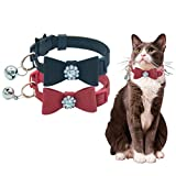 HOMIMP 2 Pack Cat Collar Set Breakaway with Diamonds Bowtie Bell for kitty - Black and Red