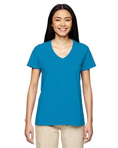Gildan Women's 1/2 Collar Taped Neck and Shoulder T-Shirt, Sapphire, -