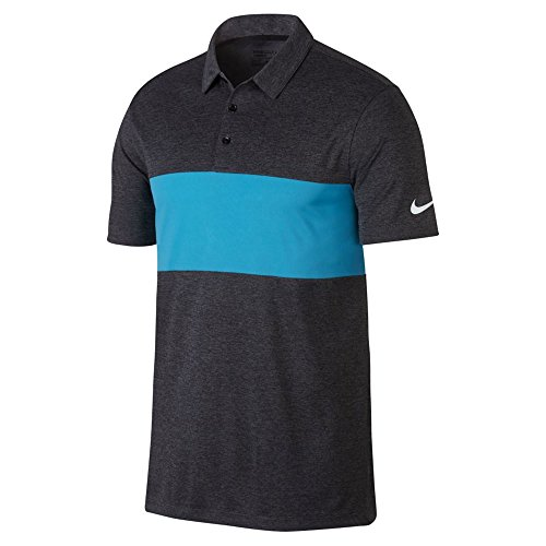 NIKE Breathe Color Block Golf Polo 2017 Charcoal Heather/Blue Fury/White X-Large
