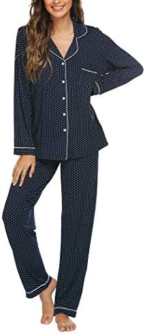 Sheshow Women's Long Sleeve Button Down Pajamas Jersey Two Piece Pjs Pants Set Lightweight Soft Sleepwear (S-XXL)