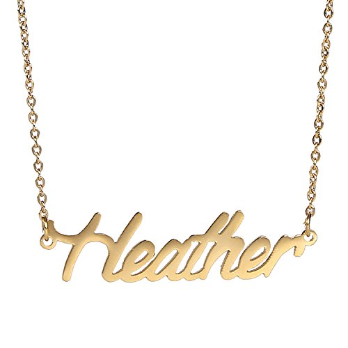 AOLO Gold Plated Small Heather Name - Name Greek Necklace