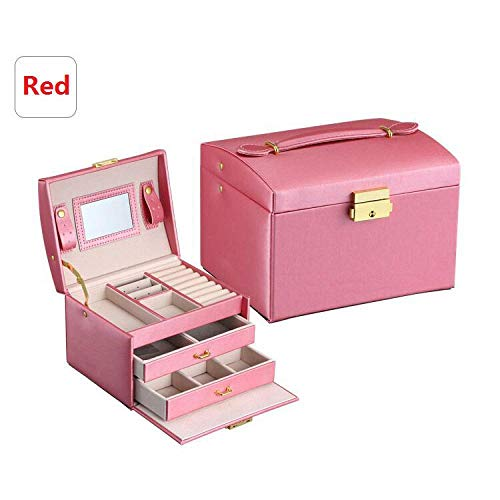 Jewelry Packaging Box Casket Box For Exquisite Makeup Case Jewelry Organizer Container Storage Boxes Birthday Gift Pink