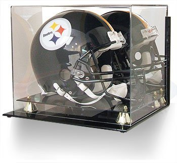 BCW Deluxe Acrylic Helmet Display -With Mirror & Wall Mount - Football Helmet, Goalie Mask, Racing Helmet - Sports Memoriablia Display Case - Sportscards Collecting Supplies ()