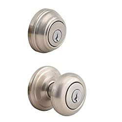 Kwikset 991 Juno Entry Knob & Single Cylinder Deadbolt Combo Pack Featuring Smartkey In Satin Nickel