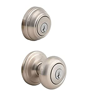 picture of Kwikset 991 Juno Entry Knob and Single Cylinder Deadbolt Combo Pack featuring SmartKey in Satin Nickel