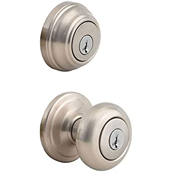 Kwikset 991 Juno Entry Knob and Single Cylinder Deadbolt Combo Pack featuring SmartKey in Satin Nickel