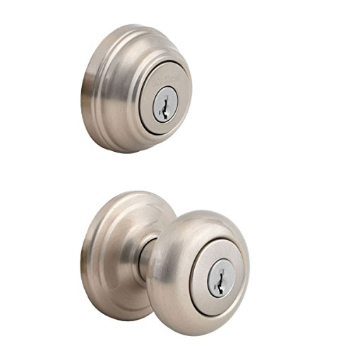 - Kwikset 991 Juno Entry Knob and Single Cylinder Deadbolt Combo Pack featuring SmartKey in Satin Nickel