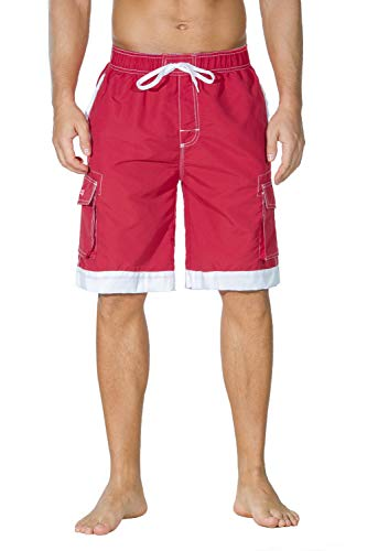 Unitop Men's Hawaiian Casual Fashional Cargo Beach Board Shorts Red&White 32
