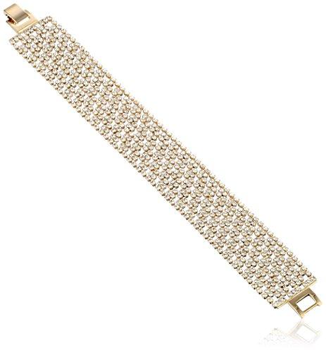 Oroclone 14k Gold Plated 22mm Argyle Pattern Crystal Tennis Bracelet