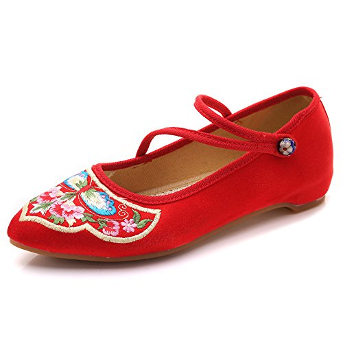 Mujeres Mulas Bordado sin Respaldo Abalorios botón Satén Cheongsam Zapatos Planos Rojo