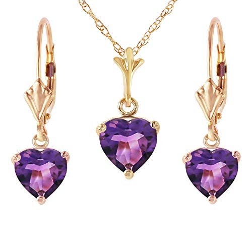 Heart Shaped Amethyst Earrings - Galaxy Gold14K Solid Yellow Gold Jewelry Set - Necklace and Earrings with Natural Heart-shaped Purple Amethysts