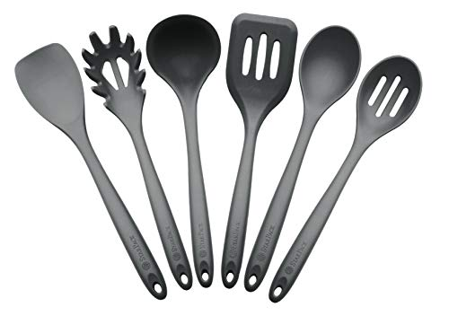 StarPack Basics XL Silicone Kitchen Utensil Set (6 Piece), High Heat Resistant to 480°F, Hygienic One Piece Design, Large Non Stick Spatulas & Serving Utensils