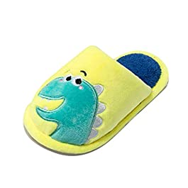 for 1-4 Years Old Baby Boys Girls Warm Dinosaur Home Slippers Toddler Infants Cute Animal Slipper Shoes Flat Open Back Non-Slip Flock Kids Indoor & Outdoor Shoes Gift Yellow