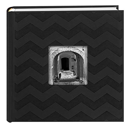 Pioneer Photo Albums DA-200CVR 200-Pocket Chevron Embossed Frame Leatherette Photo Album, 4 by 6-Inch, Black -
