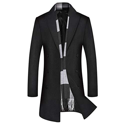 GREFER-Mens Trench Coat Casual Business Single Breasted Long Jacket Lightweight Wool Blend Pea Coats Outwear Black