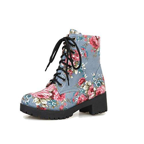 Carolbar Women's Fashion Comfort Floral Print Demin Fabric Lace up Mid Heel Martin Boots (7, Light Blue)
