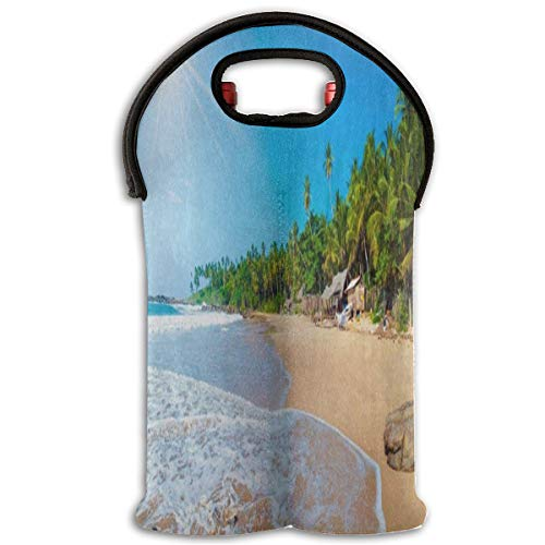 ach Palm Tree Sea Ocean 2 Bottle Red Wine Tote Bag Insulated Padded Champagne Travel Bag ()