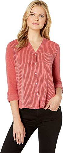 Lucky Sheer T-shirt - Lucky Brand Women's Gauze Mix Henley Top Washed Red X-Small