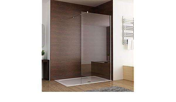 MIQU - Mampara de ducha (700 mm, fácil de limpiar, nano cristal, barra de apoyo ajustable de 1950 mm): Amazon.es: Bricolaje y herramientas