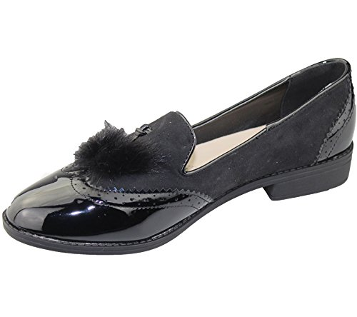 Loafers Size Pumps Womens Flat Slip Patent Black Oxford Shoes Brogues Casual Tassel Ladies Vintage On Px8nPOq1