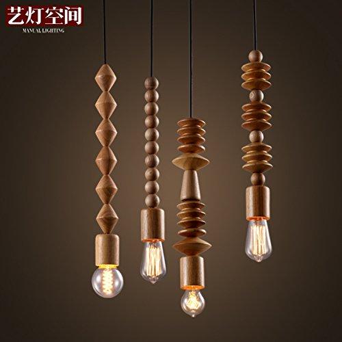 Beaded Chandelier Pendant - Injuicy Lighting Retro Loft Wooden Chandelier Beaded Ceiling Light Pendant Lamp Hall Lighting