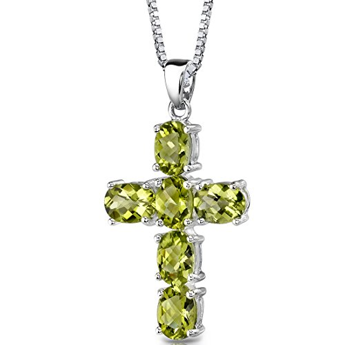 - Radiant Glory: Sterling Silver Rhodium Nickel Finish 4.50 carats Oval Shape Peridot CROSS Pendant