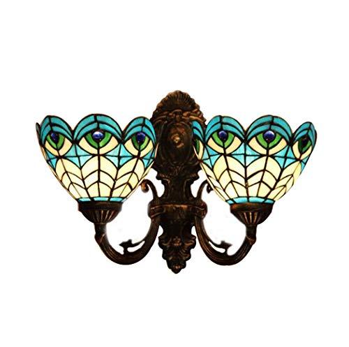 Creative Tiffany Style Wall Light, European Style Peacock Feather Blue Art Glass Wall Lamp, Dining Room Bedchamber Study Aisle l Wall Lights, BOSS LV, b