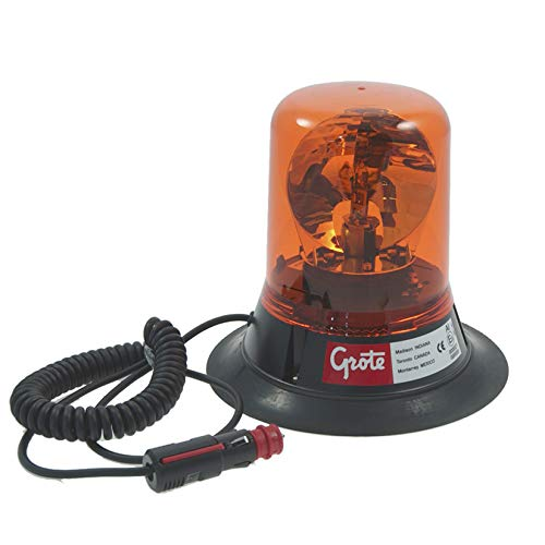 Grote 76053 Belt Drive Rotating Beacon (Magnetic Mount w/ 15' Switched Lighter Plug Cord)