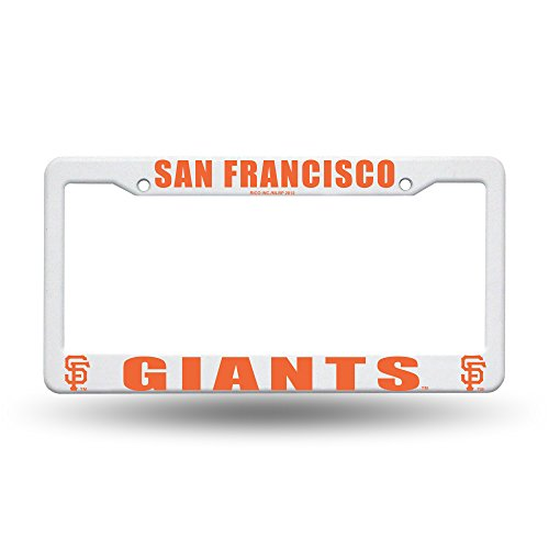 (San Francisco Giants MLB Team Logo Auto Car Truck SUV Vehicle Universal-fit License Plate Frame - White Plastic - SINGLE)