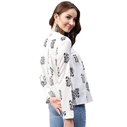 41bgcBcxaFL. SS500  - Amayra Women's Cotton Straight Top (White)