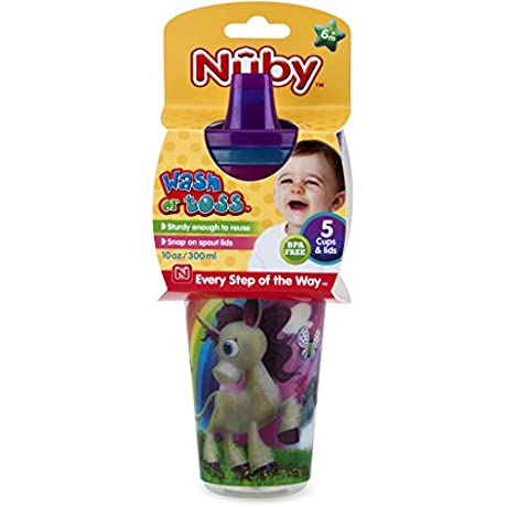 Nuby 1988311 Wash Or Toss 10 Oz Cups With Spout Lid Pack Of 5 Case Of 72