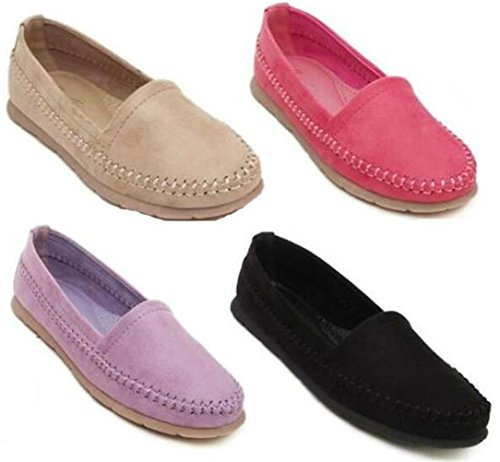 DADAWEN Women's Classic Casual Loafers Slip-On Moccasins apricot v0mZI