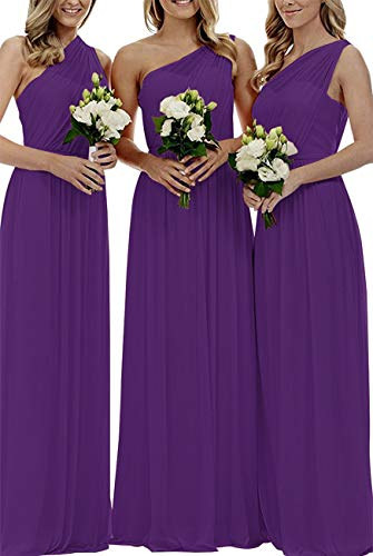 Staypretty Women's Long One Shoulder Bridesmaid Gown Asymmetric Prom Evening Dress Purple - Evening Bridesmaid Prom Dress
