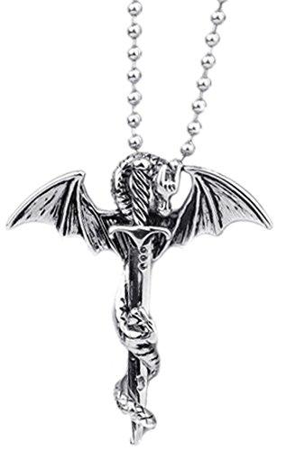 Hallery Mens Punk Titanium Steel Dragon Sword Wing Pendant Necklaces