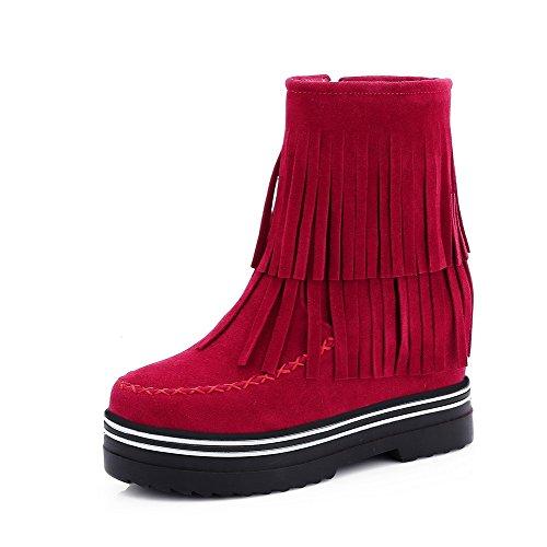 High Lining Boots AgooLar Velvet Red Toe Heels Round Zipper Solid Women's xwFxqftIC