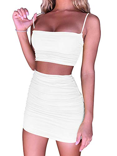 BEAGIMEG Women's Ruched Cami Crop Top Bodycon Skirt 2 Piece Outfits Dress White