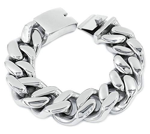 - ANAZOZ Men Stainless Steel Bracelet Massive Bold Cuban Curb Chain Link, Silver, 24X2Cm, 162G